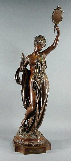 "58: Carrier Belleuse ""La Verite""  Bronze 35"" Sculpture"