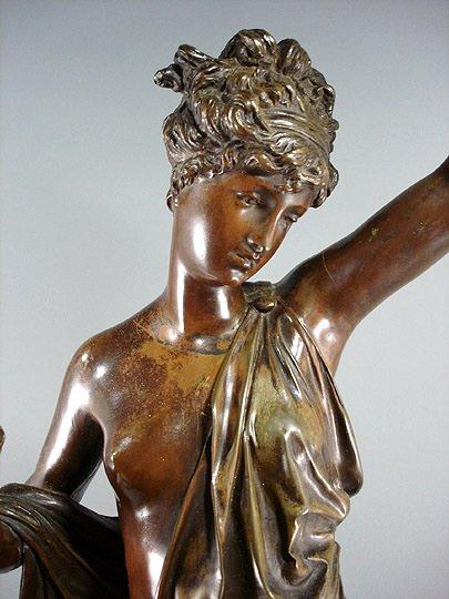 "58: Carrier Belleuse ""La Verite""  Bronze 35"" Sculpture - 2"