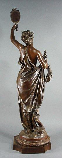 "58: Carrier Belleuse ""La Verite""  Bronze 35"" Sculpture - 3"