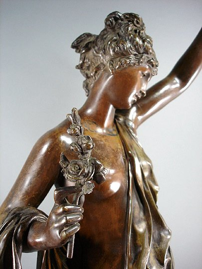 "58: Carrier Belleuse ""La Verite""  Bronze 35"" Sculpture - 5"
