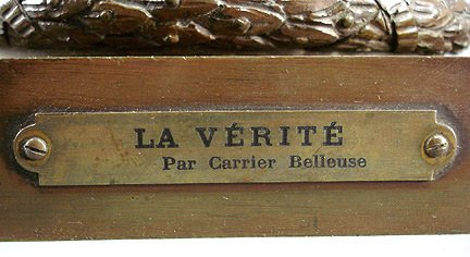 "58: Carrier Belleuse ""La Verite""  Bronze 35"" Sculpture - 8"