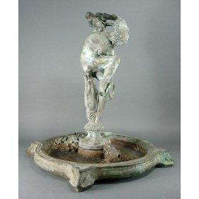 """Leo Lentelli 1920s Nude Art Deco Bronze 22"""" Fountain"""