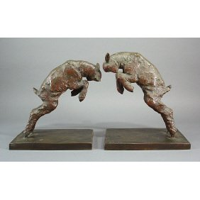 Paul Silvestre French Art Deco Bronze Lamb Bookends