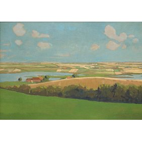 Dutch 1930s P. Barckfogens Landscape Oil Painting