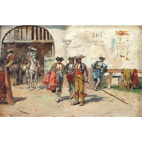 Jose Benlliure Y Gil Matadors In Arena Oil Painting
