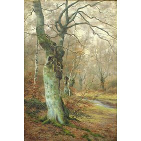 Walter Boodle 1859-1914 Autumn Forest Oil Painting