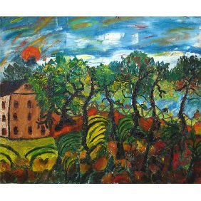 82: Jose P. Cuneo Florida Landscape 1937 Oil Painting