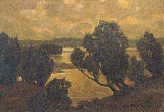 87: Ludwig Dill 1848-1940 German Landscape Oil Painting