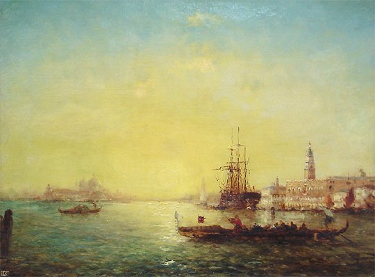 "90: Dupont -European ""Venice"" 19thC Scenic Oil Painting"