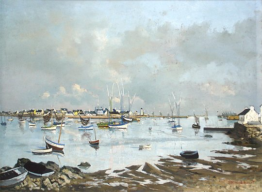 91: Jacques Durand-Henriot - French Harbor Oil Painting