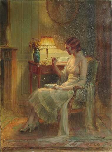92: Delphin Enjolras 1865-1945 Bubble Blower Painting