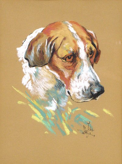 94: Monogram S.A.T. 1930s  Hound Dog Pastel Drawing