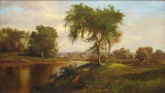 96:French 19thC. Scenic Pastoral Landscape Oil Painting