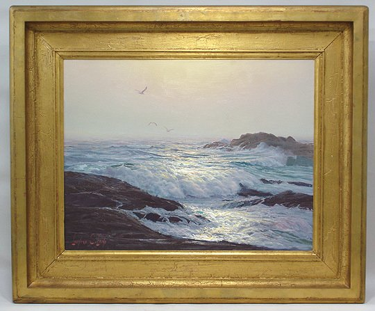 133: Leonard C. Lane Canadian Moonlit Surf Painting