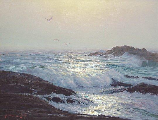 133: Leonard C. Lane Canadian Moonlit Surf Painting - 2