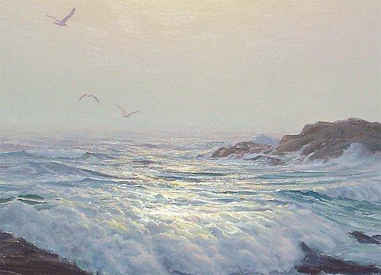 133: Leonard C. Lane Canadian Moonlit Surf Painting - 3