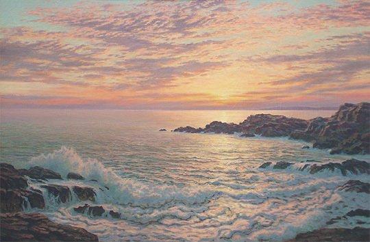 160: Josef M. Arentz Kennebunk Rocks Sunrise Painting