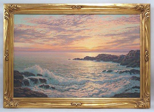 160: Josef M. Arentz Kennebunk Rocks Sunrise Painting - 2