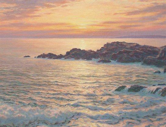 160: Josef M. Arentz Kennebunk Rocks Sunrise Painting - 3