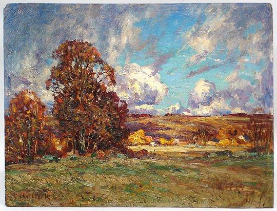 Connecticut watercolor artists directory - 191 Eliot C Clark Autumn Landscape Oil Painting