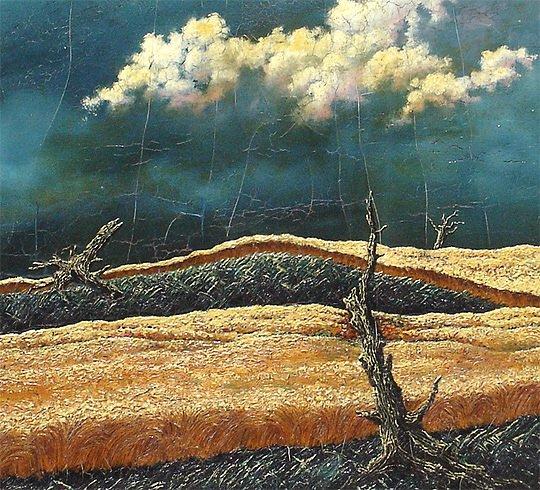 197: John R. Cox  (1915-1990) Storm Surrealist Painting - 3