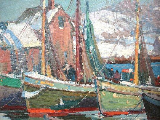 221: A. T. Hibbard Harbor Rockport Motif #1 Painting - 3
