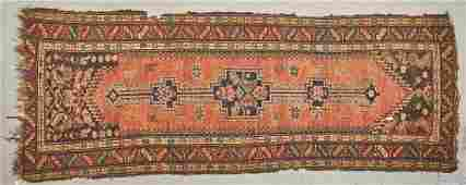 Old Caucasian Oriental 103 inch Long Runner Rug