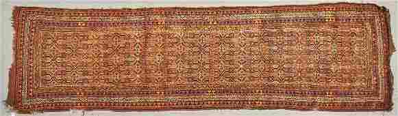 Old Caucasian Oriental Rug 117 inch Long Runner