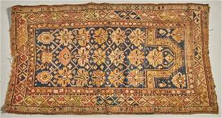 Old Oriental Hand Made Prayer Rug - Blue Abrash