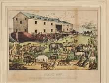 Currier & Ives 19C Lithograph Noah's Ark Print