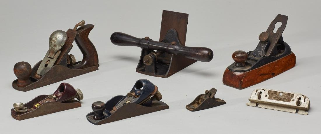 Seven Old Metal Wood Planes - 3 marked Stanley