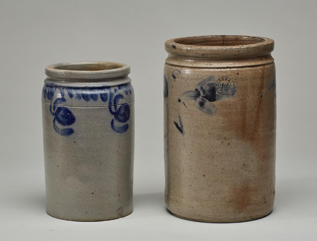 Two Blue Wash 19C - P. Herrmann Stoneware Jars