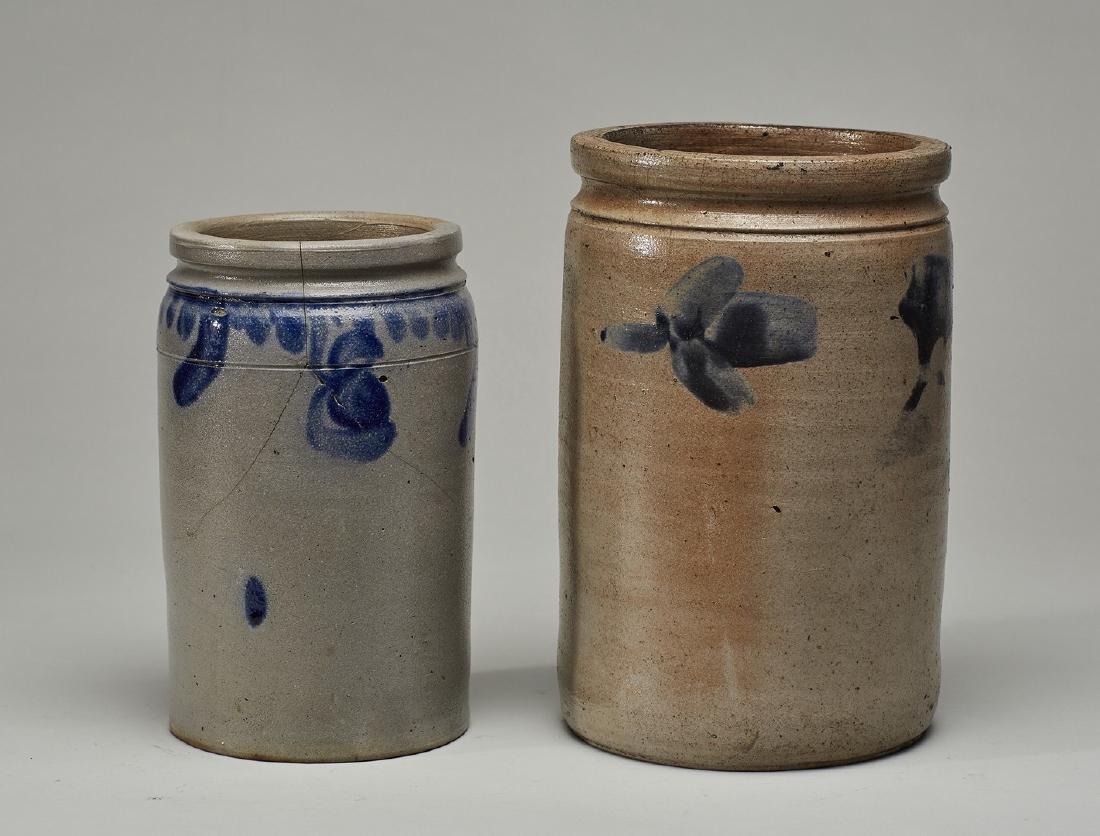 Two Blue Wash 19C - P. Herrmann Stoneware Jars - 2