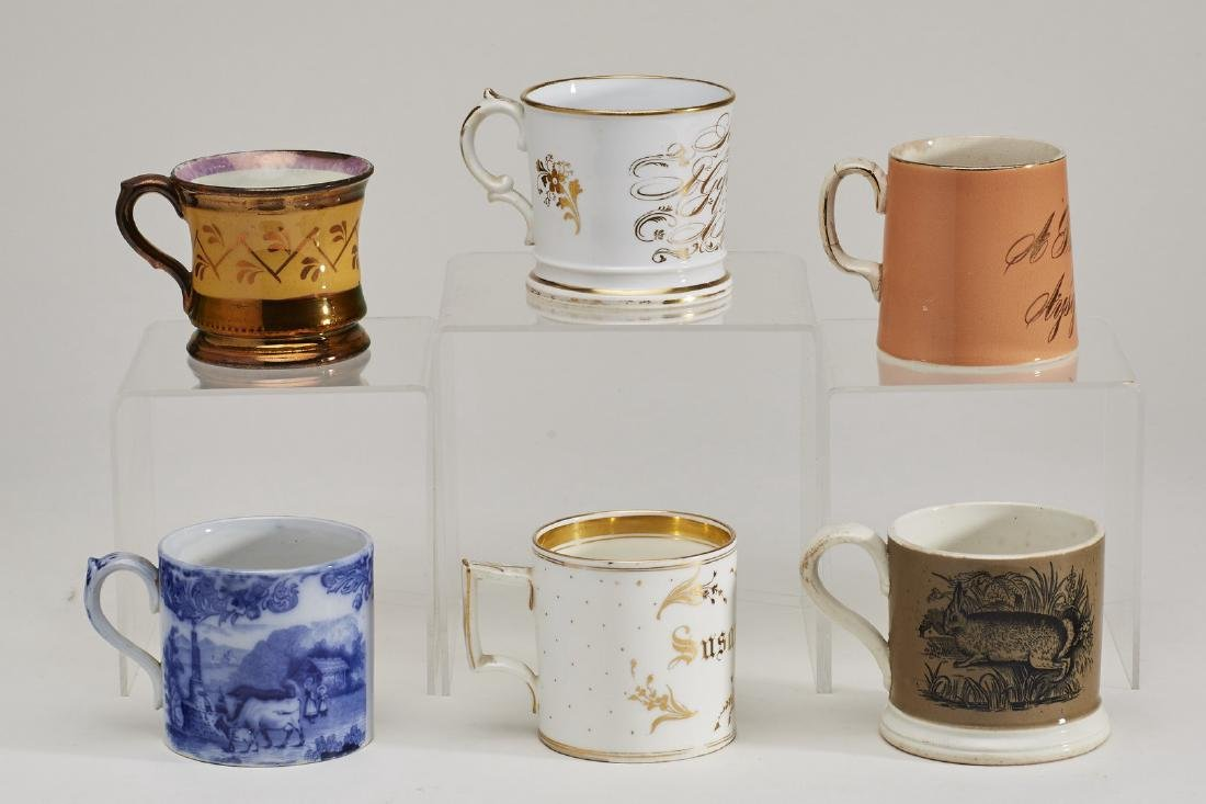 Assorted Six 19th Century Porcelain Pottery Mugs