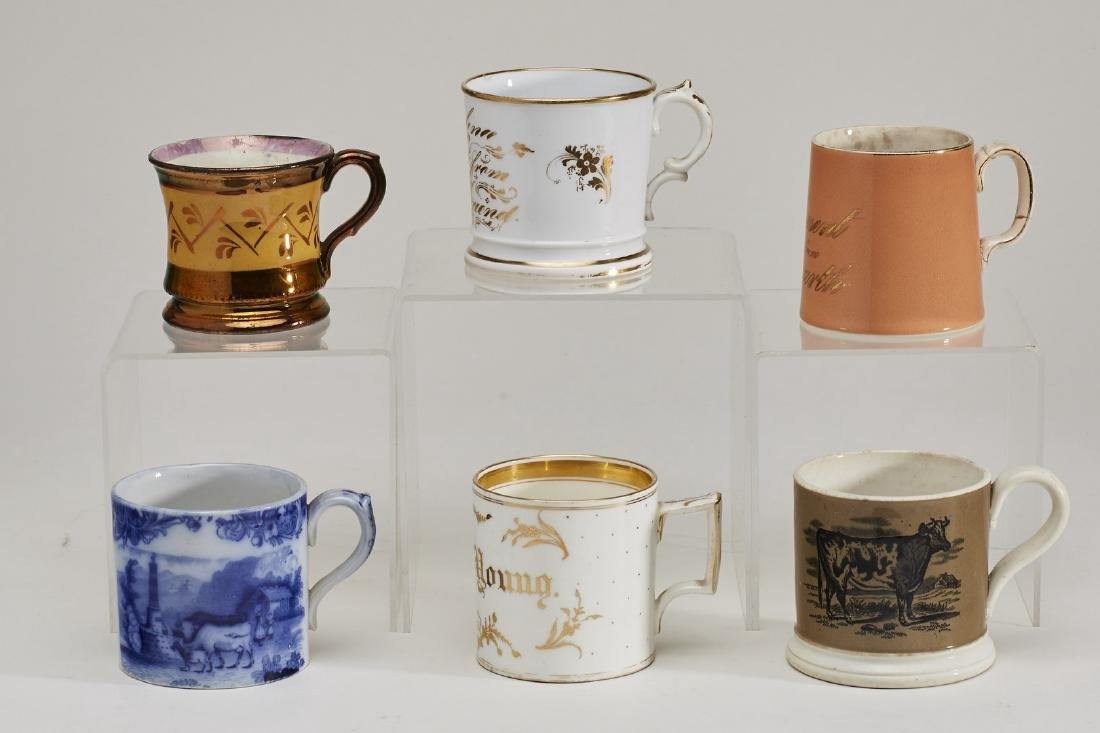 Assorted Six 19th Century Porcelain Pottery Mugs - 3
