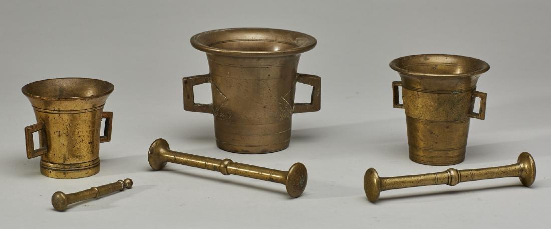 Set of Three 19C Graduated Brass Mortar & Pestels