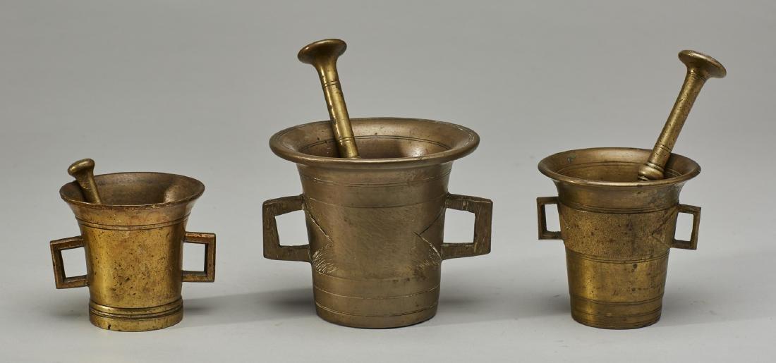 Set of Three 19C Graduated Brass Mortar & Pestels - 2