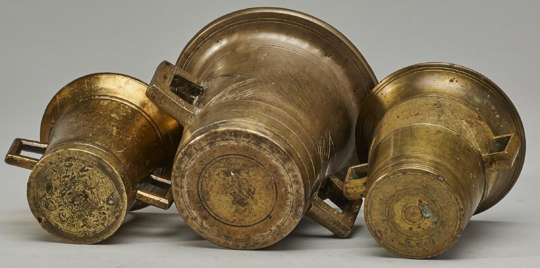 Set of Three 19C Graduated Brass Mortar & Pestels - 3