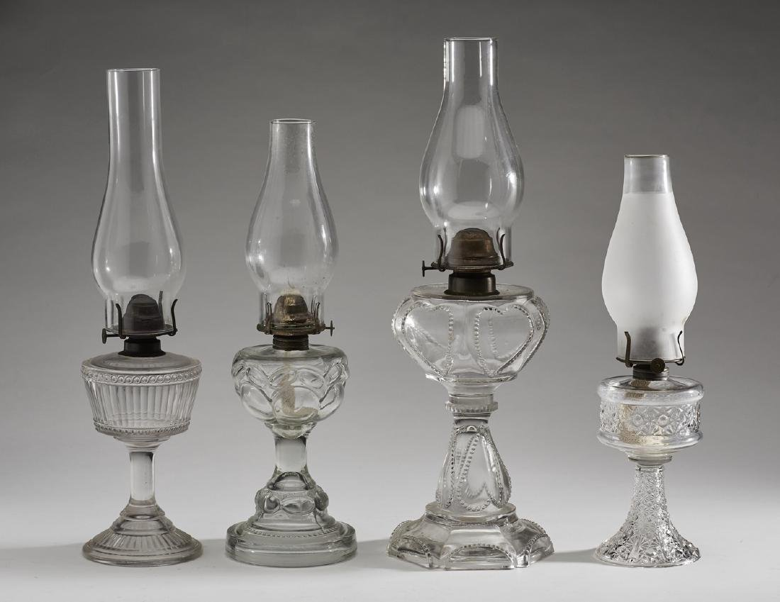 Four Assorted 19C Clear Glass Old Oil Lamps