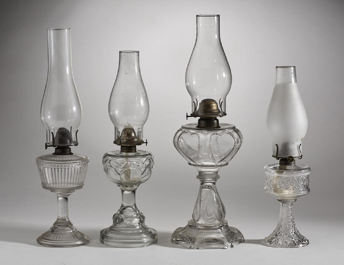 Four Assorted 19C Clear Glass Old Oil Lamps - 2