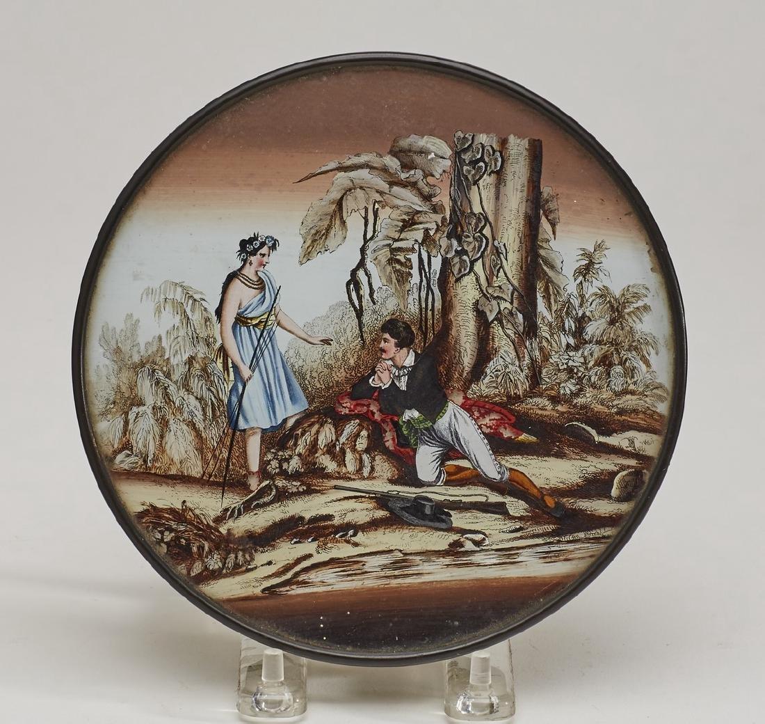 Unusual 19C Pocahontas Reverse Painted Glass Box