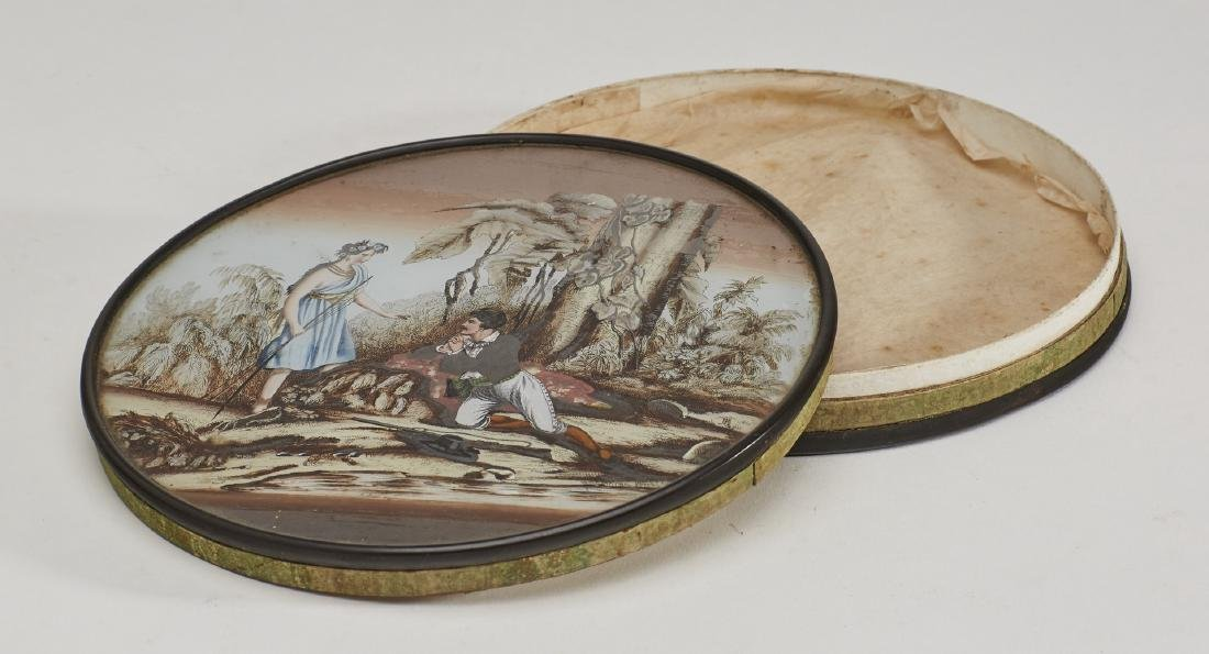 Unusual 19C Pocahontas Reverse Painted Glass Box - 3