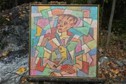 """George Marinko Abstract \\\""""Boy and Dog\\\"""" oil on"""