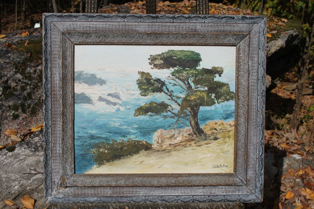 Signed G. Whitcher Oil on board Oceanscape Joshua Tree