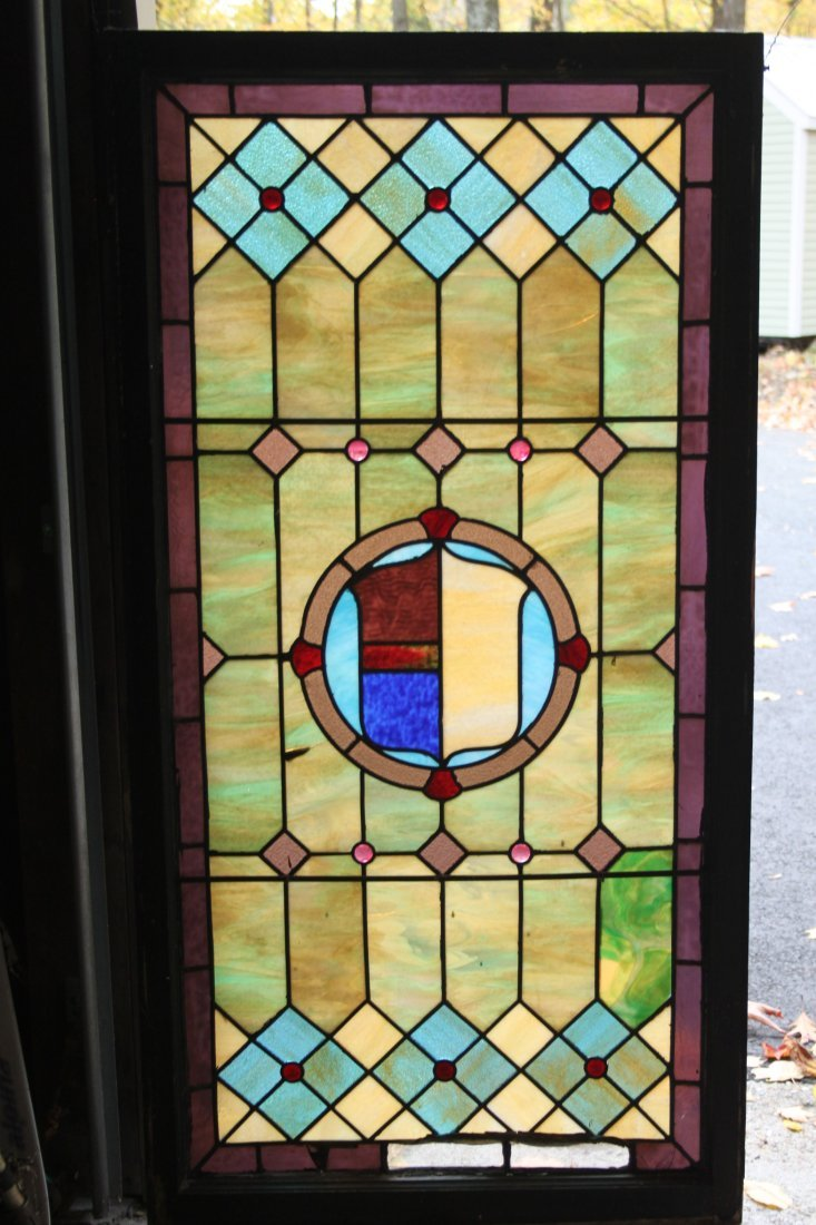Antique Stained leaded Glass Window With Crest