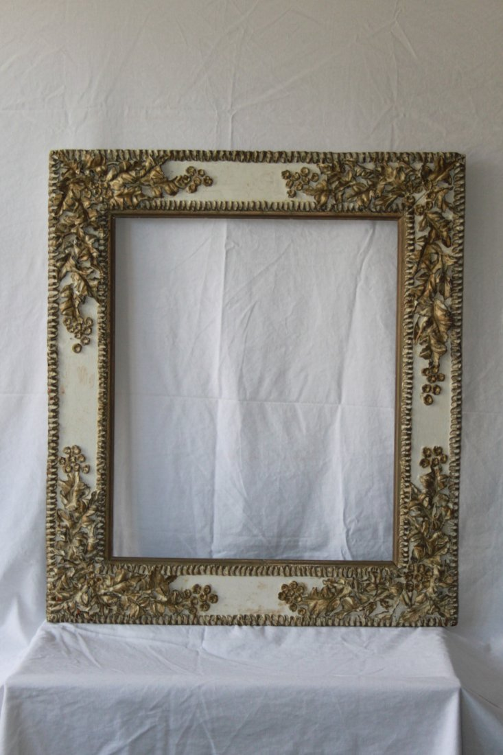Antique Victorian Large Painted Leather Floral Frame