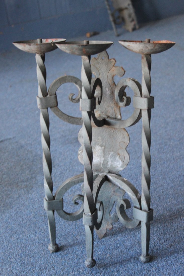Antique Hand Wrought  Iron Wall Sconce Three Light