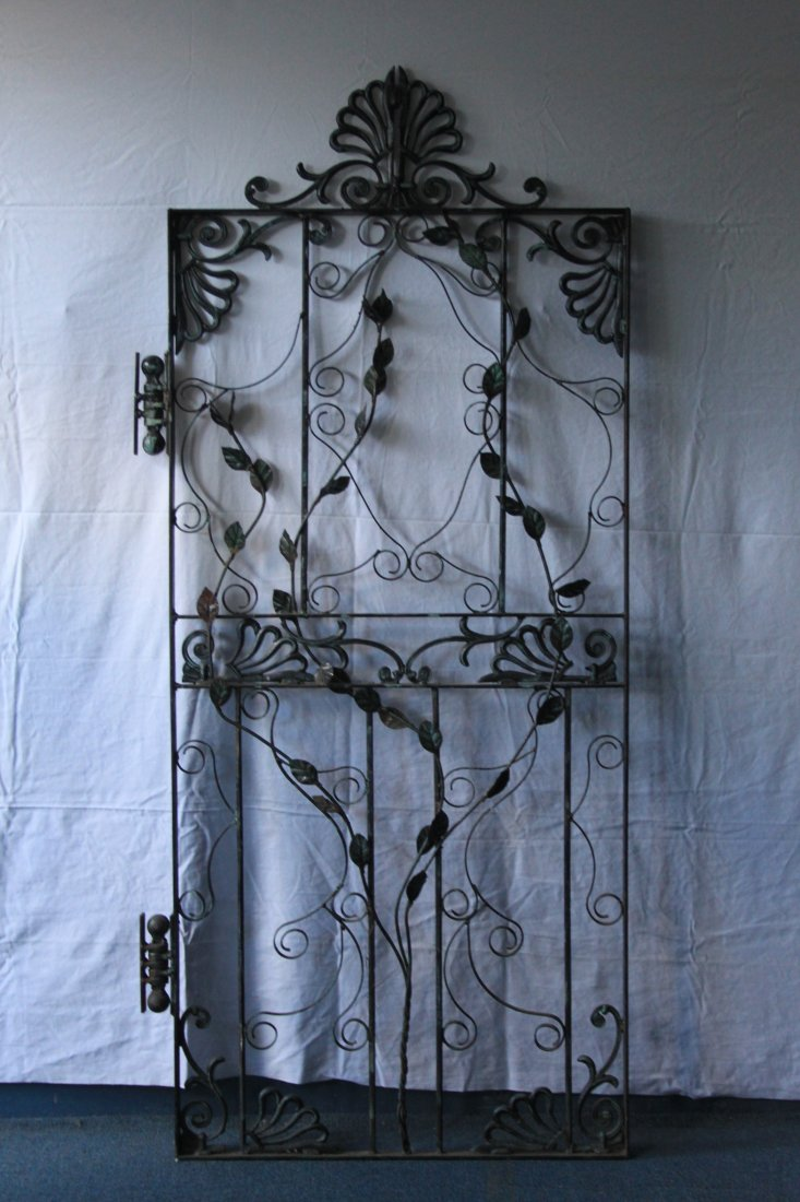 Vintage cast and hand wrought Floral Iron Door