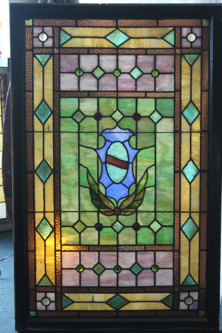 Large Victorian Leaded Stained Glass Window