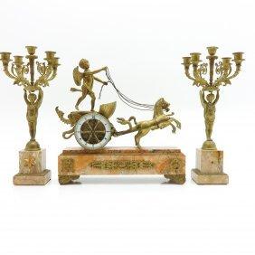 19th Century 3 Pieces Bronze Clock Set